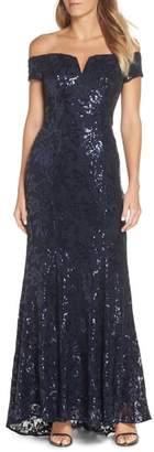 Vince Camuto Off the Shoulder Sequin Embellished Gown