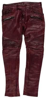 Balmain Lambskin Moto Skinny Jeans