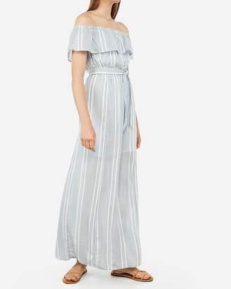 Express Striped Off The Shoulder Tie Waist Maxi Dress