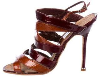 Manolo Blahnik Patent Leather Multistrap Sandals