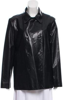 Ellen Tracy Linda Allard Double-Breasted Leather Jacket