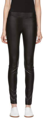 The Row Black Leather Moto Trousers