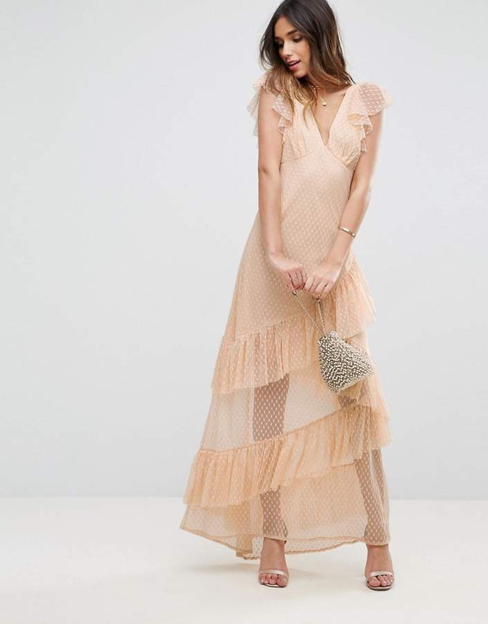 Asos ASOS Dobby Mesh Ruffle Cut-About Maxi Dress