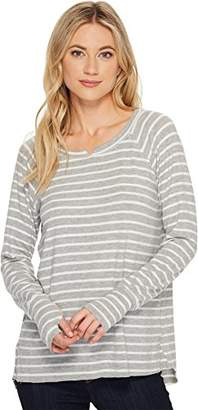 Michael Stars Women's Madison Brushed Stripe Long Sleeve Notch Neck Hi-Low Top