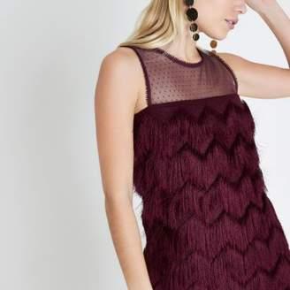 River Island Petite burgundy fringe sleeveless swing dress