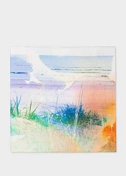Paul Smith Men's 'Seaside' Photographic Print Cotton Pocket Square
