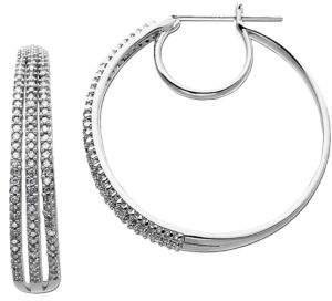Lord & Taylor 14 Kt White Gold 3 Row 0.50 ct t w Diamond Hoop Earrings