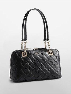 Calvin KleinCalvin Klein Womens Leather Quilted Satchel Black/Gold