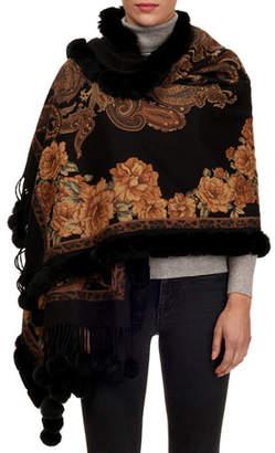 Gorski Paisley & Floral Cashmere Stole w/ Fur Trim