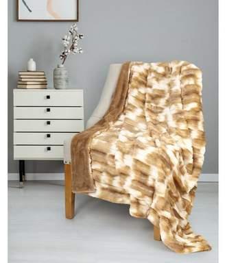"Co Safdie & Throw Blanket Faux Fur 50"" x 60"" Sand Ultra Soft"
