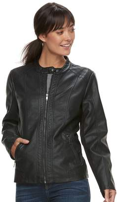 Moto Women's Sebby Collection Faux-Leather Racing Jacket