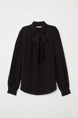 H&M Tie-detail Silk Blouse - Black
