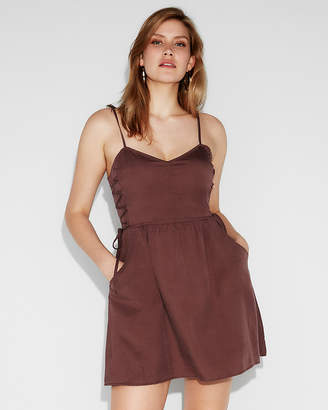 Express Silky Soft Twill Side Lace-Up Fit And Flare Dress