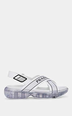 Prada Women's Logo-Jacquard Slingback Sandals - Bianco