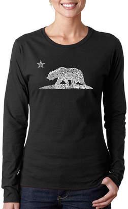 LOS ANGELES POP ART Los Angeles Pop Art California Bear Long Sleeve Graphic T-Shirt