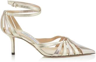 Jimmy Choo TRAVIS 65 Gold Mix Metallic Nappa Leather Strappy Pump with a Pointed Toe