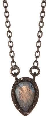ADORNIA Mini Labradorite Pear Shaped Diamond Halo Pendant Necklace - 0.20 ctw