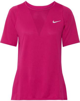 Nike Zonal Cooling Relay Dri-fit Stretch-mesh Top - Plum