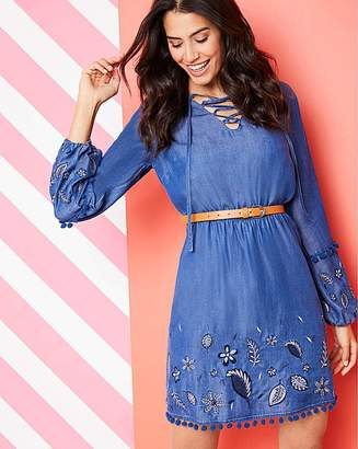 Fashion World Embroidered Tencel Denim Dress