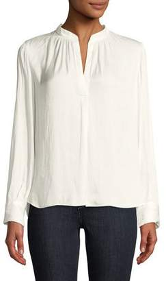 Zadig & Voltaire Tink V-Neck Satin Long-Sleeve Blouse