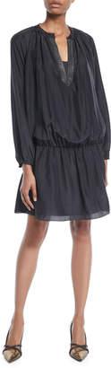Brunello Cucinelli Monili V-Neck Long-Sleeve Dropped-Waist Silk Mini Dress