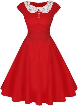 ACEVOG Women's Elengant Slim Vintage Casual Cap Sleeve Bridesmaid