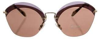 Miu Miu Oversize Half-Rim Sunglasses