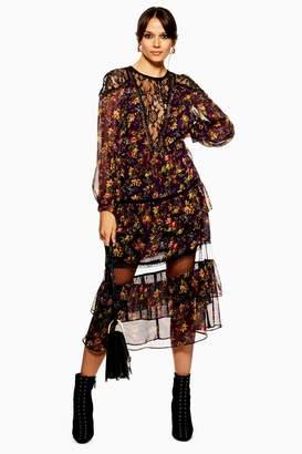 Topshop Lace Trim Midaxi Dress