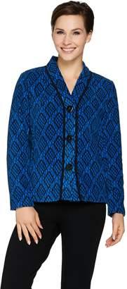 Bob Mackie Bob Mackie's Button Front Printed Fleece Jacket with Pockets