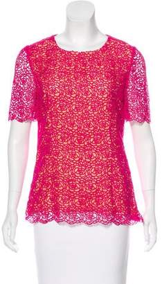 Oscar de la Renta Crochet Short Sleeve Top