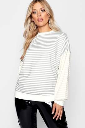 boohoo Plus Stripe Contrast Sleeve Boyfriend Sweat