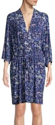 Natori Floral Printed Wrap Robe