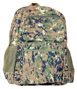 Montauk Leather Club Military Camouflage Woodland Print Water Resistant Backpack with 2 Front Zipper Pockets