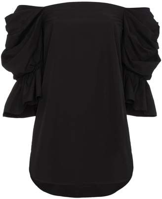 Bardot Monographie Black Cotton Puff Sleeve Top