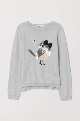 H&M Reversible-sequin Sweater - Gray