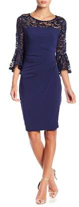 Marina Lace Sequin Ruched Dress