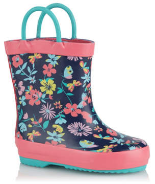 George First Walkers Navy Floral Print Wellington Boots