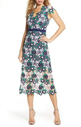 Foxiedox Embroidered Lace Midi Dress