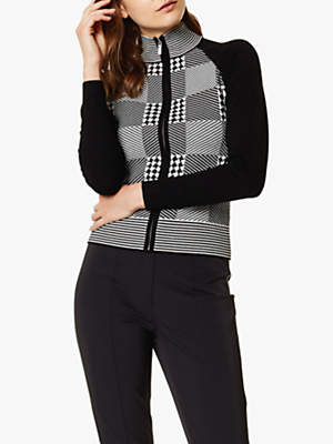 Karen Millen Check Knit Zip Front Cardigan, Black/White