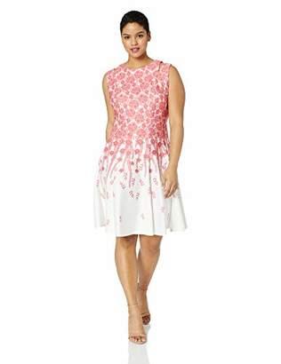Gabby Skye Women's Plus Size Sleeveless Round Neck Fit & Flare Dress W. Cut Out