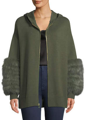Alice + Olivia Joey Fur-Cuff Zip-Front Wool-Blend Hoodie Sweater
