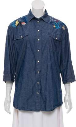 Paul & Joe Embroidered Chambray Top