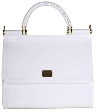 Dolce & Gabbana Sicily Hand Bag In Rubber White Color