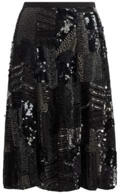 Ralph Lauren Beaded Georgette A-Line Skirt Black 4