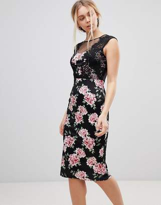 Girls On Film Floral Midi Dress With Lace Detail