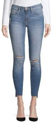 Frame Distressed Raw Hem Skinny Jeans