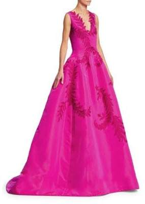 Oscar de la Renta Embroidered Applique Ball Gown