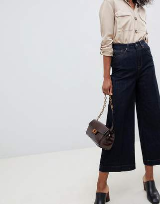 Selected High Waisted Crop Wide Leg Jean in blue