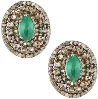 Bavna Silver Oval Stud Earrings with Chrysoprase & Diamonds