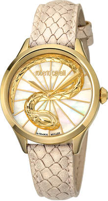 Roberto Cavalli by Franck Muller 34mm 3D Snake Watch w\/ Leather Strap Beige\/Gold